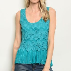 Tops - 5 for $100 Just In! Teal Scoop Neck Crochet Tunic